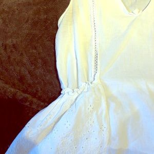 Zara white cotton embroidered blouse